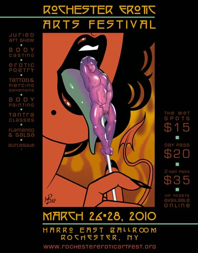 Official Poster of Rochester Erotic Arts Festival 2010